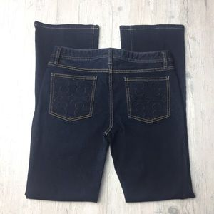 Tory Burch classic Tory boot jeans in a dark wash